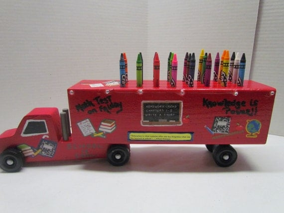 Semi Truck That S Also A Toy Car Holder : Semi truck crayon holder educational toy handmade wooden