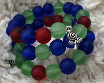 Frosted Glass Bead Bracelet on Memory Wire
