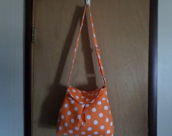 Orange Poka Dot Messenger Pleated Handbag Purse