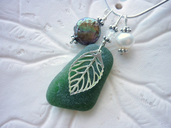 Sea Glass Necklace - with Filigree Leaf  Pearls Beach Seaglass