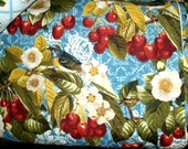 Robert Kaufman cotton fabric Cherries and cherry Blossoms large print  home decorating by the yard