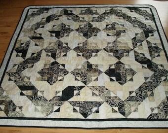 Handmade Quilt Batiks in Black,White and Cream, Blanket, Lap Quilt, Bedding