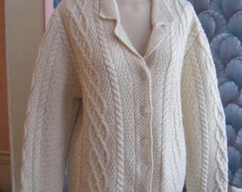 Vintage beige fisherman wool knit cardigan sweater, notched lapel collar cable sweater, size M Paul James made England