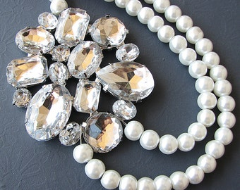 Bridal Necklace Wedding Necklace Bridal Jewelry Pearl Rhinestone Necklace Wedding Jewelry Multi Strand