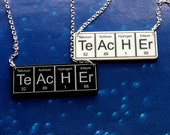 TeAcHEr  Necklace ... periodic table inspired jewelery