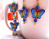 Cloisonne Butterfly & Crystal Bracelet and Earring Set