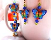 Cloisonne Butterfly & Crystal Bracelet and Earring Set