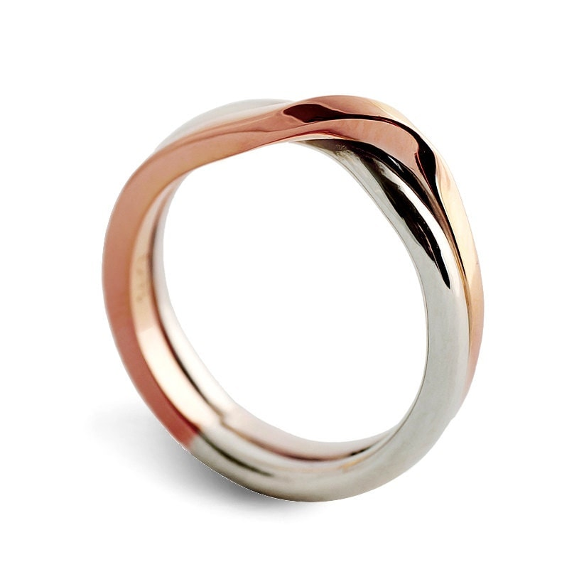 love knot white and rose gold wedding band unique wedding