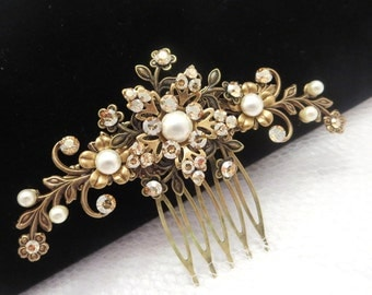 Bridal hair comb, Antique brass hair comb, Wedding hair comb, Vintage style hair comb, Flower hair comb, Swarovski crystal headpiece,