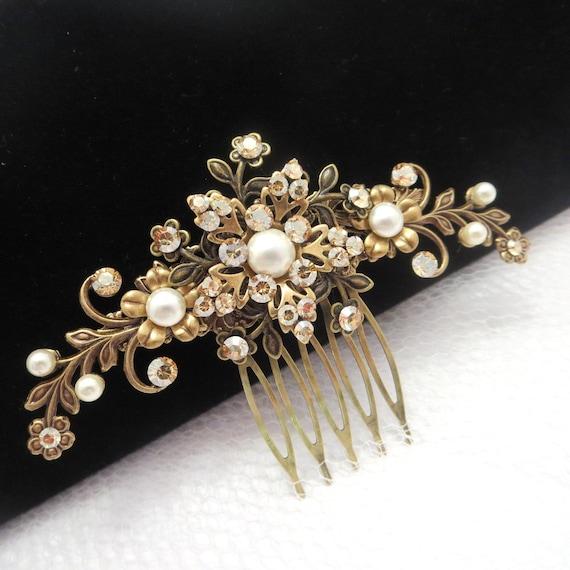 Bridal Hair Comb Antique Brass Hair Comb Wedding Hair Comb