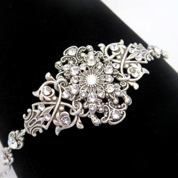 Bridal bracelet, Crystal cuff bracelet, Vintage style bracelet, Swarovski bracelet, Antique silver bracelet, Wedding jewelry, Rose Gold