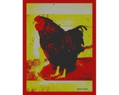 Folk Art  Barnyard Rooster Bird Farm Animal Chicken Red Chartreuse Digital Print  Kitchen Home Decor Wall Hanging Giclee Print 8 x 10