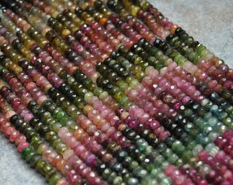 Faceted Tourmaline Roundel Strand Small