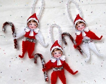 Christmas Chenille Ornaments , Pixie Christmas Ornaments, Set set of 3 (132)