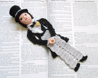 thread crochet bookmark bridegroom, unique bookmarks, anniversary gift, groom gift, gift for him,