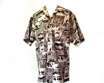 60s Mens Shirt / Vintage PACIFIC ISLE / Hawaiian Shirt / Surfer Beach Wear / 40 Inch Chest