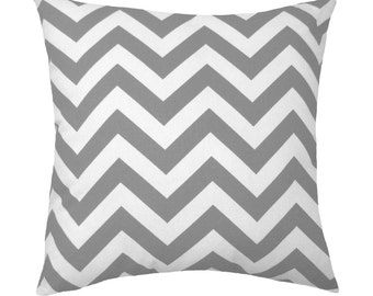 Gray Chevron Throw Pillow - Premier Prints Zig Zag Twill Storm Gray Double Sided Decorative Pillow Free Shipping