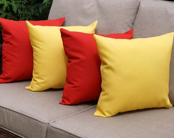 Sundeck Cherry Red and Sundeck Yellow Outdoor Throw Pillow - 4 Pack Free Shipping