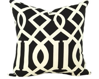 CLEARANCE - Sedro Black and Cream Trellis Decorative Throw Pillow - Free Shipping