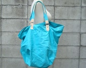 Canvas Tote Bag Vintage 1980s Turquoise Blue Overnighter  Purse