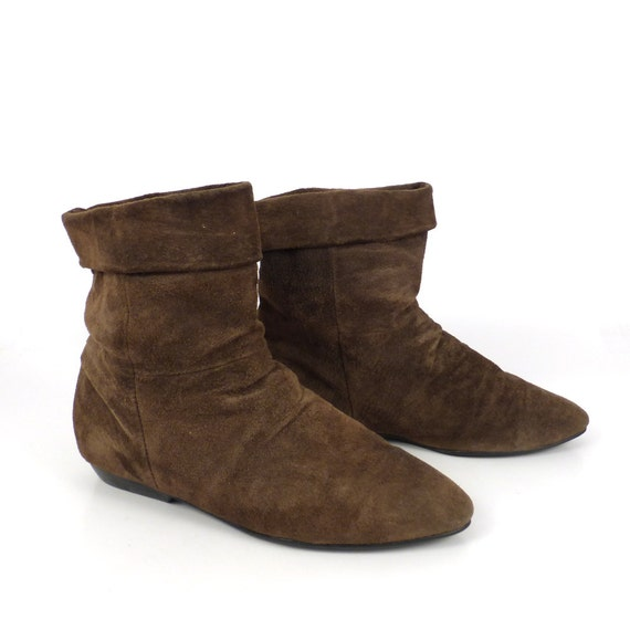 ankle boots vintage 1980s suede flat brown leather slouch
