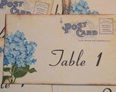 Wedding Table Number Cards - Vintage Postcard Style - Blue Hydrangea - Quantity 20