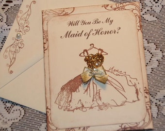 Will You Be My Maid of Honor Card,  Vintage Wedding Maid of Honor