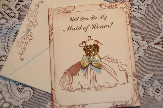 Will You Be My Maid of Honor Card - Vintage Wedding
