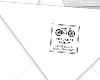 Custom address stamp square with a bike built for two!--113TS or 113SI