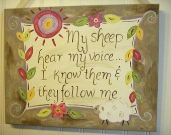 My sheep hear my voice Canvas painting 11 x 14 Original artwork Primitive folk Home decor Painted wall art Christian Bible verse Jesus God