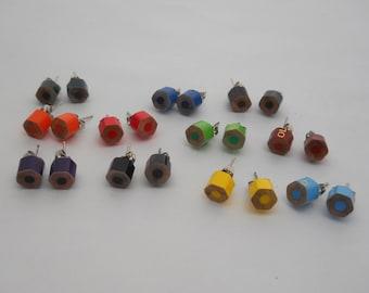 Pick 8, Stud Earrings, Post Earrings, Colored Pencil,  Earring Set, Teacher, Artist, Crafter, Gift, Teacher Gift, Multi Color, Rainbow