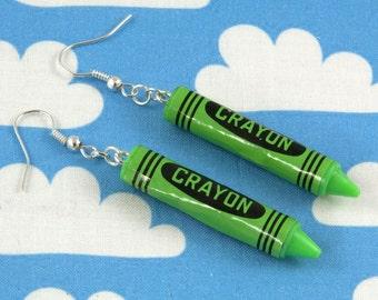 Green Crayon Earrings