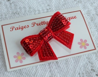 "2"" Red Sequin Hair Bow-Toddler Hair Clip-Baby Hair Clip-Alligator Clip"