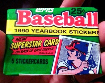 Vintage 1990 Unopened Pack of TOPPS Baseball Collector Stickers 5 random stickers
