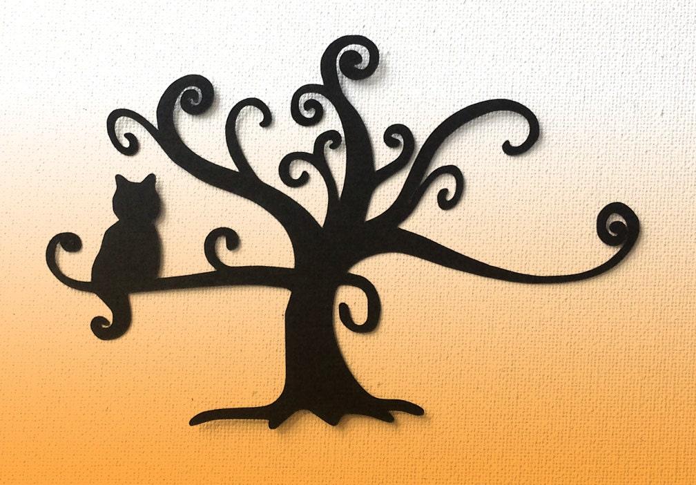 Lying down cat silhouette