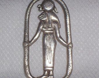 Vintage Sterling Necklace with a Goddess Sekhmet Pendant