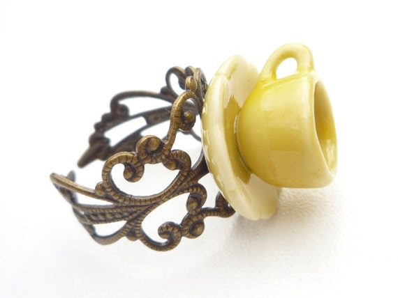 tea time ring yellow and antiqued brass teacup ring