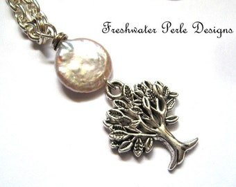 Tree Of Life Under Pearl Moon Necklace