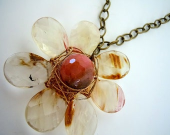 Stone Wire Wrapped Flower Necklace By Debbie Renee