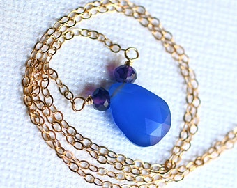 Blue Chalcedony Necklace with Amethyst on 14K Gold Fill - Roma by CircesHouse on Etsy