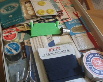 Very Large Lot of Sewing Supplies with Wonderful Graphics