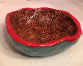 Little Red, Turquoise and Brown Bowl - Funky, Retro Colors with a Boho Vibe - A lovely gift or buy it for yourself!