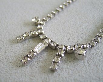 Vintage Rhinestone Choker Necklace Mid Century Mad Men