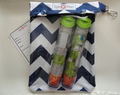 Chevron XL Epi Pen Case w/ See Through Front / Swivel Clip Holds 2 Allergy Pens, Meds, ID Card 6x8 Your Choice Chevron Colors