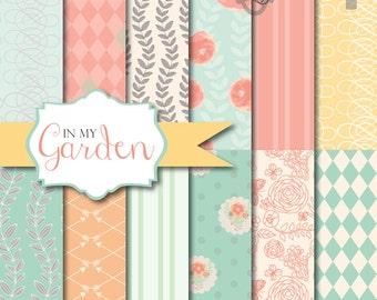 Instant Download - In My Garden: 12 Digital Paper