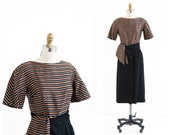 vintage 1960s dress / 60s suit / Black and Brown Striped Wiggle Dress and Jacket Set