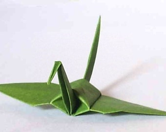 100 Small Origami Cranes Origami Paper Cranes Origami Crane - Made of 7.5cm 3 inches Japanese Paper - Dark Olive Green