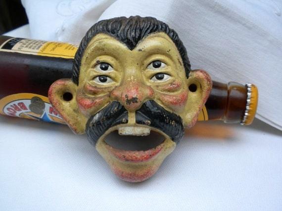 Vintage Bottle Opener Cast Iron Four Eyed Man S Face