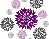 Flower wall decal - Set of 12 Flower Wall Decals - Dahlia Flower Decal - Nursery Wall Decal - Girls Wall Decal - teen decal - flower decal