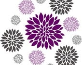 Flower wall decal - Set of 12 Flower Wall Decals - Vinyl Wall Decal - Nursery Wall Decal - Girls Wall Decal - Teen Decal - Flower Decal
